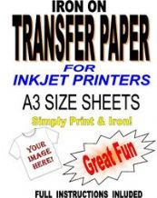 Inkjet Iron On T Shirt Transfer Paper For Light Fabrics 10 A3 Sheets